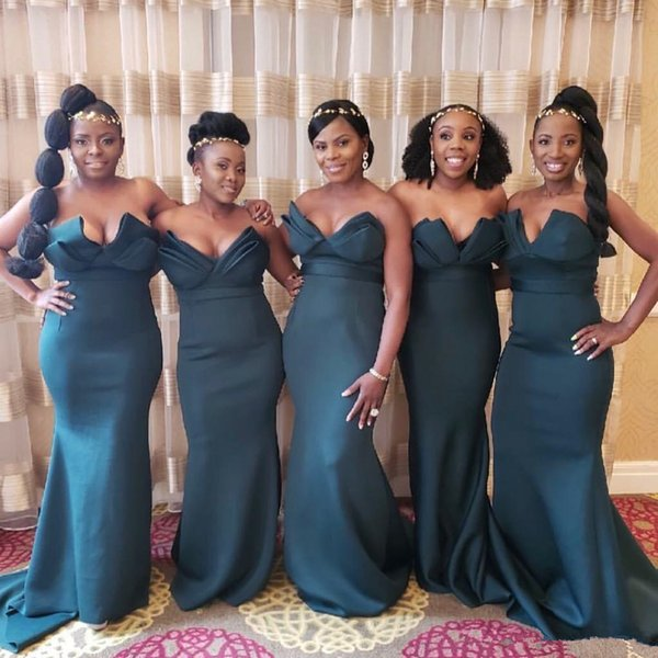 Hunter Green Sexy Strapless V Neck Mermaid Bridesmaid Dresses 2019 Nigerian African Floor Length Maid Of Honor Gowns Beach Weddings