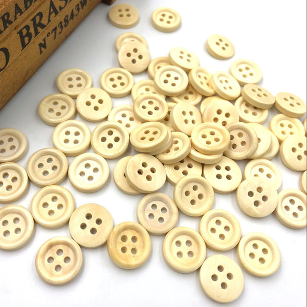 best selling 500pcs 4 Holes Kid's Sewing Wood Buttons 15mm Sewing Craft Mix Lots WB105