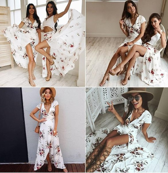 Hot selling Women Chiffon Dress Floral Slit Beach dresses V neck Sexy Holiday Dress China Women clothing Supplier 2019 Summer Wholesale