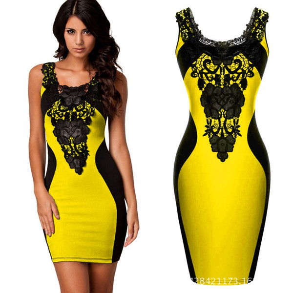 top popular New Summer Women Ladies Clothing Sexy Sleeveless Bodycon Bandage Club Dress Lace Crochet Patchwork Sheath Party Dresses 2021