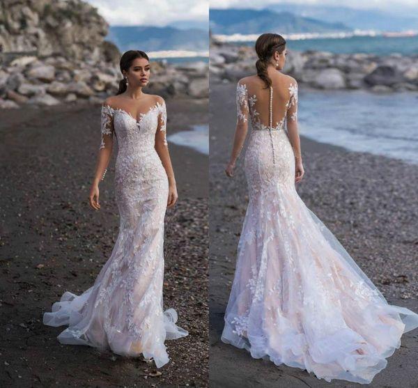 2020 Naviblue Full Lace Long Sleeves Mermaid Wedding Dresses Appliqued Bridal Gowns Custom Sweep Train Beach Wedding Dress vestido de novia
