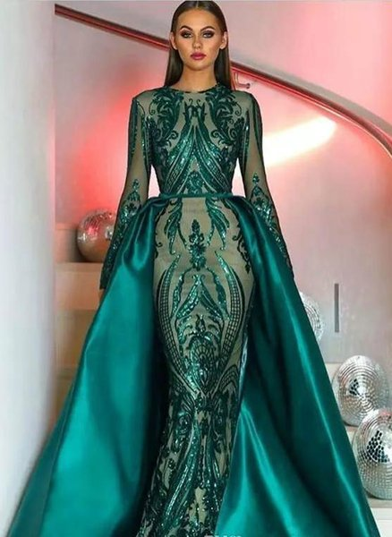 2019 Luxe Musulman Vert Foncé Manches Longues Paillettes Pageant Robes De Soirée 2019 Illusion Formelle Robes De Bal De Fête Avec Jupe Amovible