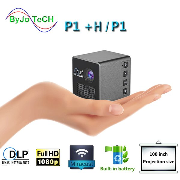 top popular ByJoTeCH P1 Mobile Projector P1 P1+H Pocket Home Movie Proyector Beamer Battery Mini DLP mini led projector 2019