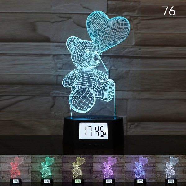 3D LED Night Light Bedroom Decoration Table Lamp USB Charging Touch Remote Control Colorful Lights 7 Colors Date Time Creative Gift A039