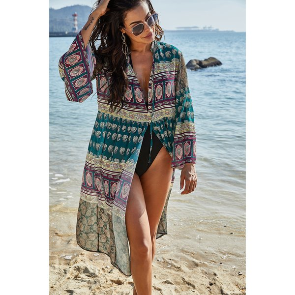 Womens Luxury Designer Bikini Blouse Loose Mid-length Casual Sunshirt Summer Beach Fashion Floral Sun Protection Clothing Hot Sale Womens smock,2020 New Arrival, welcome to Wholesale, Size S,2XL optional,1 style.we are factory, welcome to Wholesale and huge Discount for wholesaler.