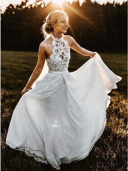 Discount 2019 High Neck Top Lace Halter Wedding Dresses Full Length Chiffon Bridal Gowns Backless Plus Size Wedding Dresses Vestidos De Noiva Cheap