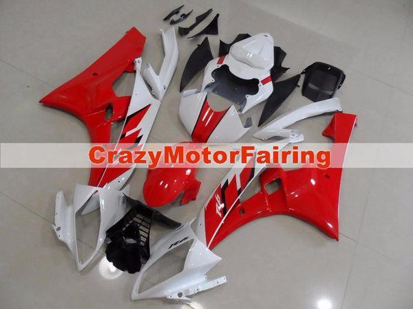 Hohe qualität Neue ABS Form motorrad kunststoff Verkleidungen Kits Fit Für YAMAHA YZF-R6-600 2006 2007 06 07 Verkleidung karosserie benutzerdefinierte rot weiß
