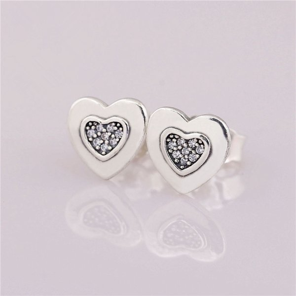 Stamped Special Heart Simple Design Charm Earrings Authentic 925 Sterling Silver Fashion Women Jewelry European Style