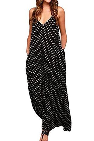Spaghetti Strap Strap Neck V-Neck Polka Dot femmes Imprimer Boho Long Maxi robes en mousseline de soie