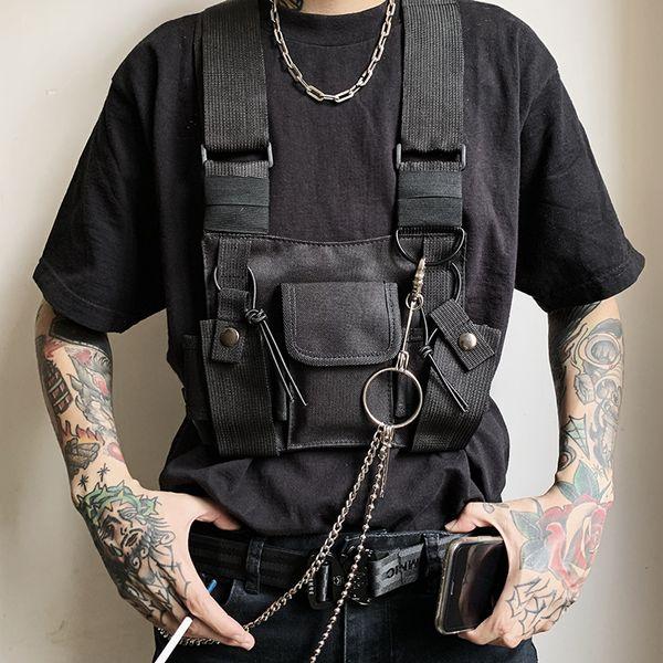New Tactical Vest Men Fashion Black Punk Retro Motorcycle Vests Mens Hip Hop Pockets Waistcoats Jaqueta Motoqueiro YT50162