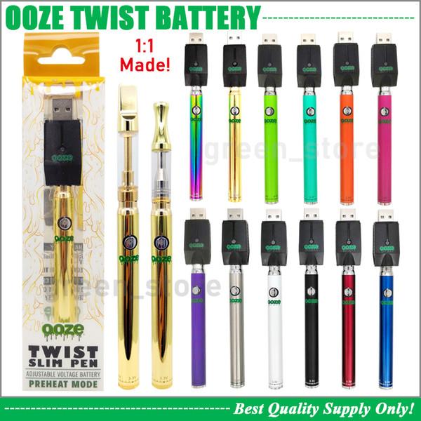 Premium OOZE Twist Slim Battery With 3.3V-4.8V Adjustable Voltage Preheat 320mAh 510 Vape Pen 100% Same Original