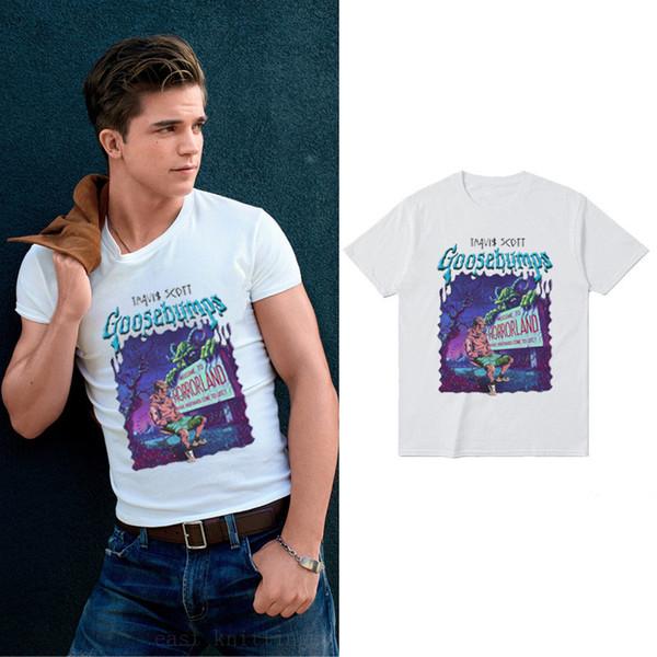 Travis Scott Digital Print Homme Tshirts Goosebump Crew Neck Short Sleeve Creative Fashion Casual Clothing Loose Apparel