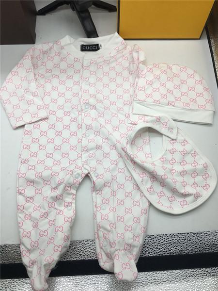 Mode-Marken-Baby-Jungen-Mädchen-Spielanzug-Overall Baumwolle Tops + Hut 2Pcs Outfit Kleidung stellten Neugeborene Kleinkind 0-24M Kind-Kleidung Kostenloser Versand
