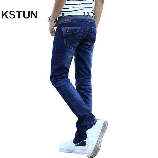 Kstun Jeans Мужские эластичные синие пуговицы на карманах Дизайн Slim Fit Узкие джинсовые брюки Джоггеры Джинсы Повседневная Байкер Мотор Мужские брюки Y190510