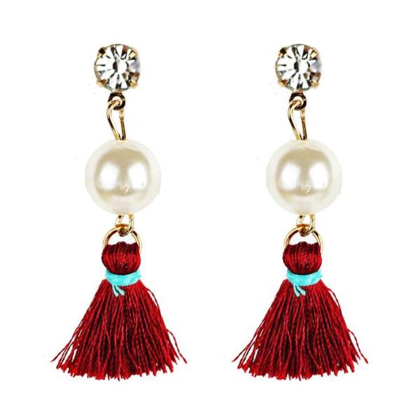 Orecchini pendenti con nappine alla moda e con nuovi orecchini pendenti europei e americani fiore di perla elegante orecchini a bottone femminile earr