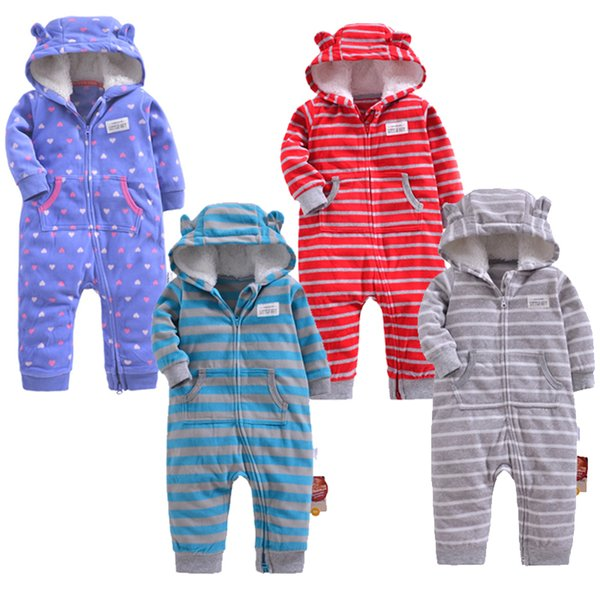 2019 Baby Clothing Girls Winter Warm Outfits Fleece Outwear Double Zipper Jumpsuit Baby's Warm Clothes Boys Romper Creeping Suit J190524