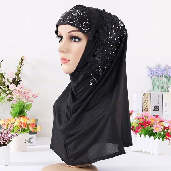 New Arrival 60*60 Cotton Soft Scarf Women Ladies Square Floral Print With Lace Hijab Wraps Muslim Headscarves Drop Shipping