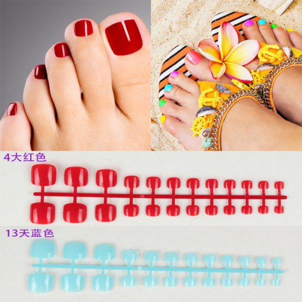 New 24PCS Fashion Design Cute Toes Latest French Style Candy Colorful Fake Toe 24 Optional