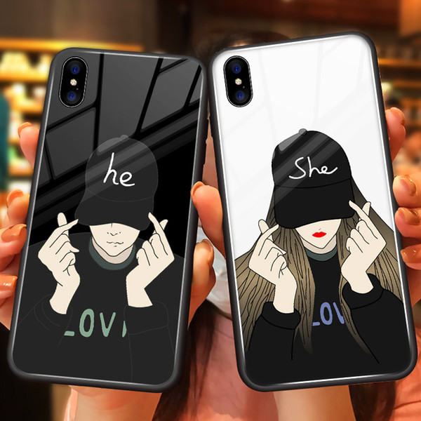 New Fashion Phone Case for iPhoneXSMAX XS XR X 7Plus/8Plus 7/8 Popular Protective Back Cover Tempered Glass Phone Case 4 Styles Wholesaele