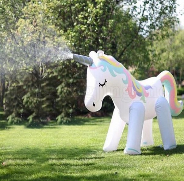 Big Size Inflatable water toy unicorn Spray Water Unicorn children's Summer Outdoor Swimming Beach Pool Play The Lawn Play LJJK1483