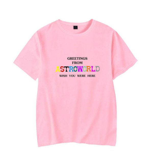 Summer Mens Tshirt Sportswear Travis Scotts ASTROWORLD Pink Crew Neck Tshirt Letters Print Hip Pop Rapper Tee