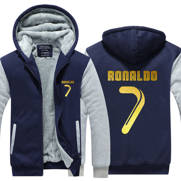 EUA tamanho da ue cristiano ronaldo cr7 moletom com capuz camisola dos homens de lã inverno engrossar zipper hoodies jaqueta jaqueta super quente camisola