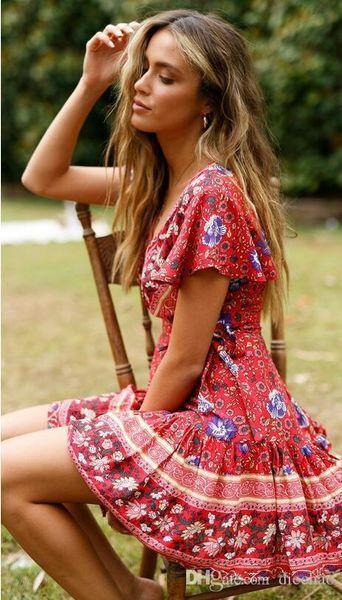 2019 Famous Fashion Designer Spring And Summer New Women\u0027S Bohemian Beach  Holiday Wind Short Sleeve Deep V Big Pendulum Print Dress Backless Dress