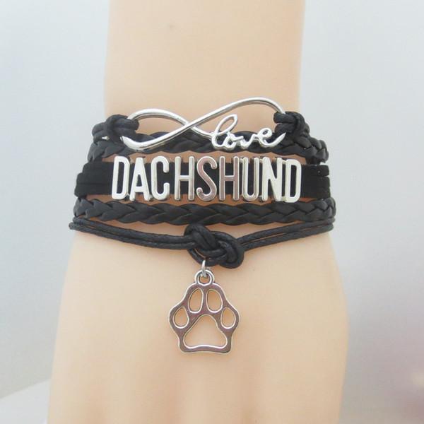 Mode Amour Teckel Bracelet Patte Charme En Cuir Wrap Bracelets Bracelets Charme Chien Bijoux Animaux Thème Pour Animaux