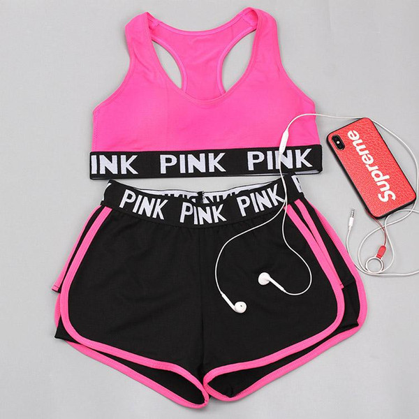 best selling Quick Dry Summer sports bra shorts suit woman running Wire free Shake proof yoga fitness vest underwear two pieces set