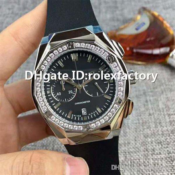 Top Luxury Watch VK Quartz Stainless Steel Case Diamond Bezel Black Dial Sapphire CrystalI grind arenaceous Rubber Strap Mens Watch