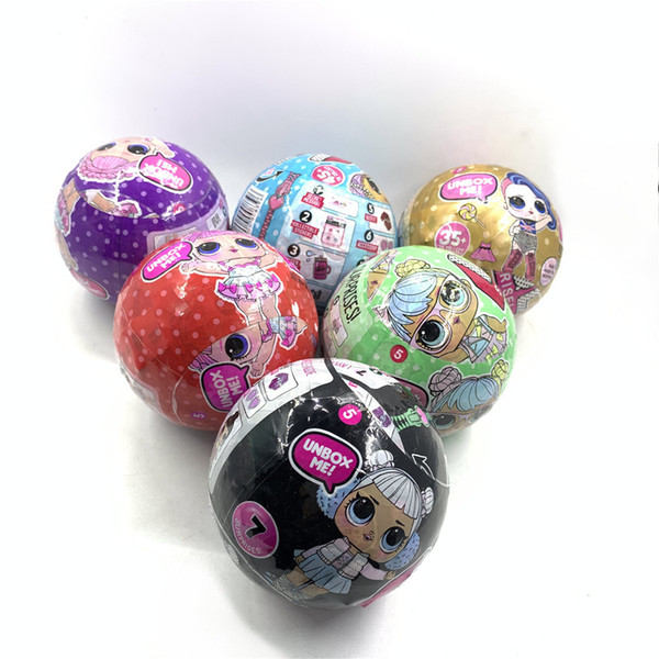 best selling 2020 new Black purple gold red green glitter ball doll 6pcs set Girls Dress up the toy with box Action Figure Toy kid gift for Christmas