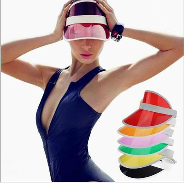 best selling 2019 Sun Visor Sunvisor party hat clear plastic cap transparent pvc sun hats sunscreen hat Tennis Beach elastic hats Free Shipping