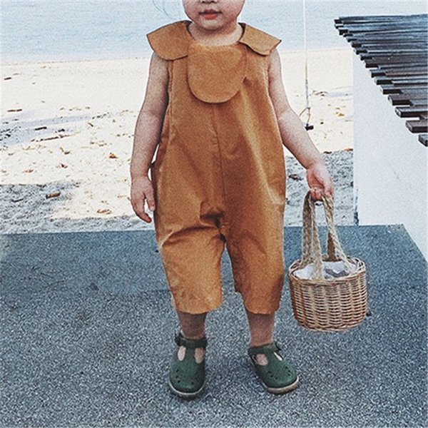 INS Newest Toddler Baby Boys Jumpsuits Blank Turn-down Collar Sleeveless Summer Organic Tatting Cotton Newborn Overalls Rompers Onesies