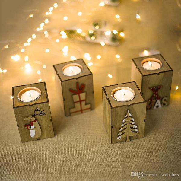 Рождественские украшения деревянных свечных украшения мини деревянный подсвечник свеча украшение творческого подарок Рождественских украшения Партии