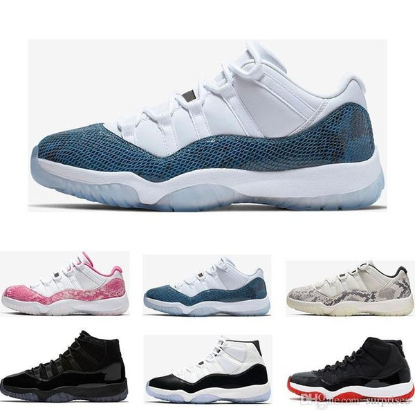 New Basketball Shoes 11s Snakeskin Light Bone Orange Trance Bred Concord 45 Gamma Blue 11 Women Mens Trainers Sports Sneakers Size 5.5-13