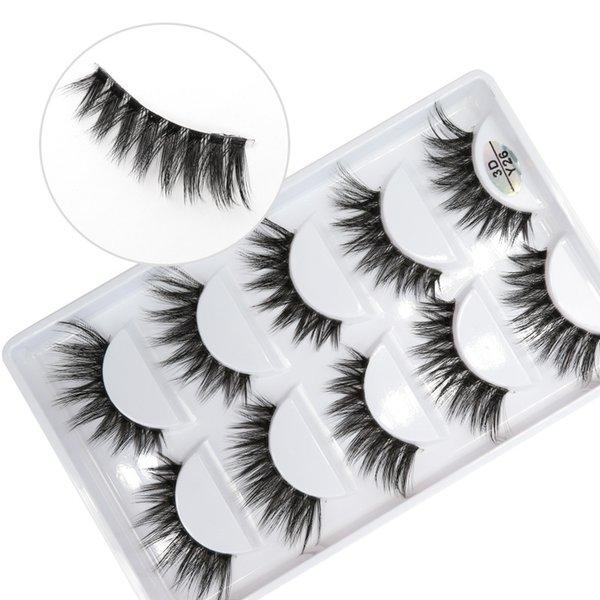3D-Y26 5pairs/set Y series transparent terrier False EyeLashes 5 Pairs 3D Natural soft silk Eyelashes Handmade eyelashes.