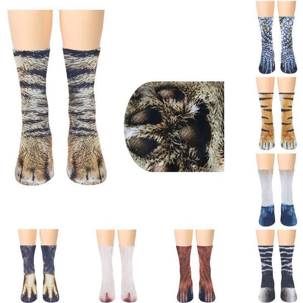 3D Baskılı Kış Kedi Sevimli Kalın Sıcak Uyku Kat Çorap Peluş Coral Polar Çorap Bayan Tüp