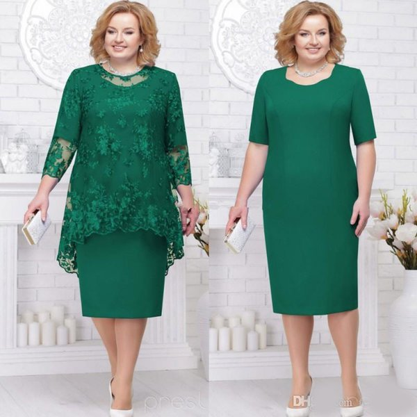 Hunter Green Plus Size Mother of the Bride Groom Dresses with Lace Jacket 2019 Jewel Neck Tea-length Wedding Guest Party Dress