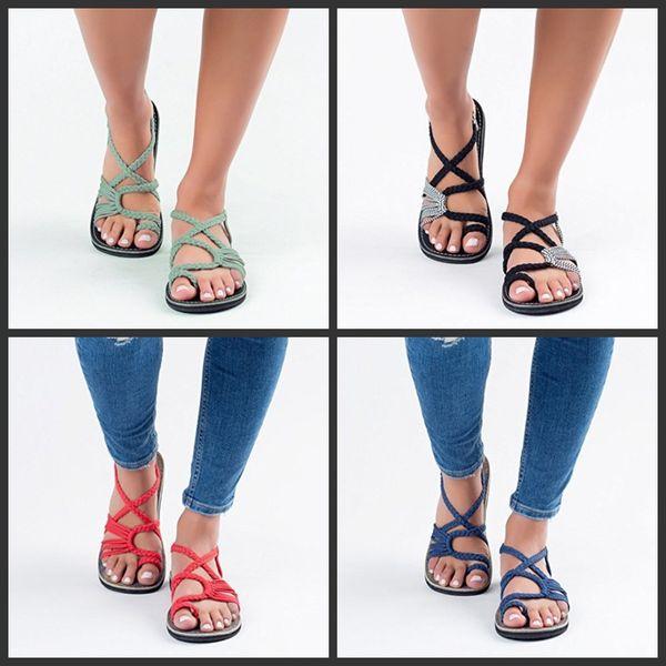 Noeud Sandales D'été Chaussures Sandy Beach Sandale Pin-Toe Grand Code Bout Ouvert Chevrons Mode Vente Chaude 27pyf1