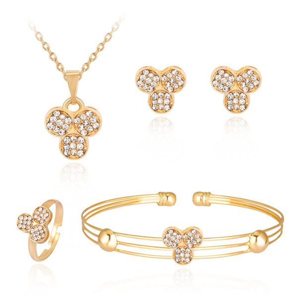 HC Fashion Character Pendant Necklace Set Kids Jewelry Trendy Gold Color Children Jewelry Sets Crystal Cute Girl Gifts Jewelry T