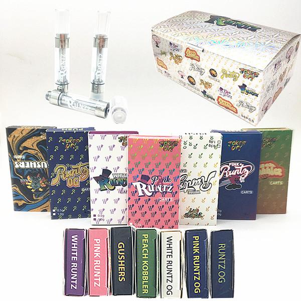 Runtz Vape Chariots Vape Pen Cartouches 0.8ml 1,0ml Press Tip huile épaisse 1.8mm * 4 Hologram boîte d'emballage E Cigarettes atomiseurs