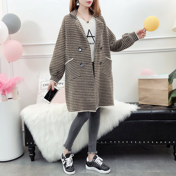 Winter Warm Imitated mink woollen long knitted jacket women autumn creative plaid sweater Lantern Sleeve Lapel double-breasted overcoat