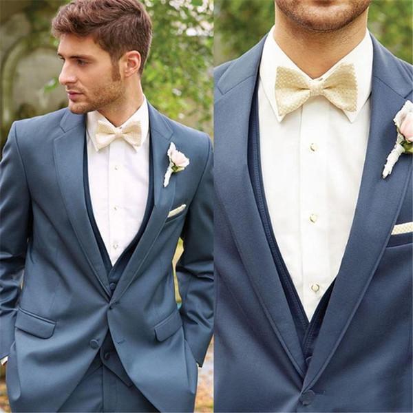 2019 New Custom Groom Tuxedos With Gun Collar High Quality Fashion Best Man Wedding Groomsman Suit (Jacket+Pants+Vest