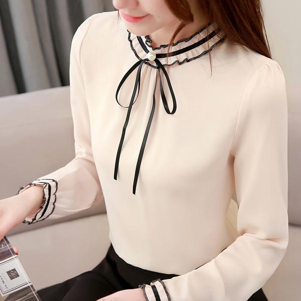 Sweet Ruffled Petal Sleeve Long Sleeve Blusas Elegant Bow Chiffon Shirts 2019 Spring New Womens Blouses and Tops 4 Colors S-3XL