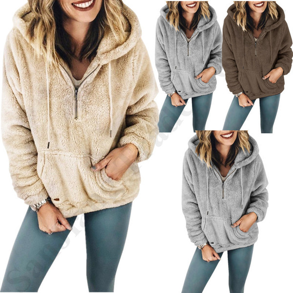 Women's Sherpa Hoodies Polar Fleece Pullovers Hooded Sweatshirt Zipper Sweater Kangaroo Pocket Long Sleeve Hoodie Winter Warm Top C91107