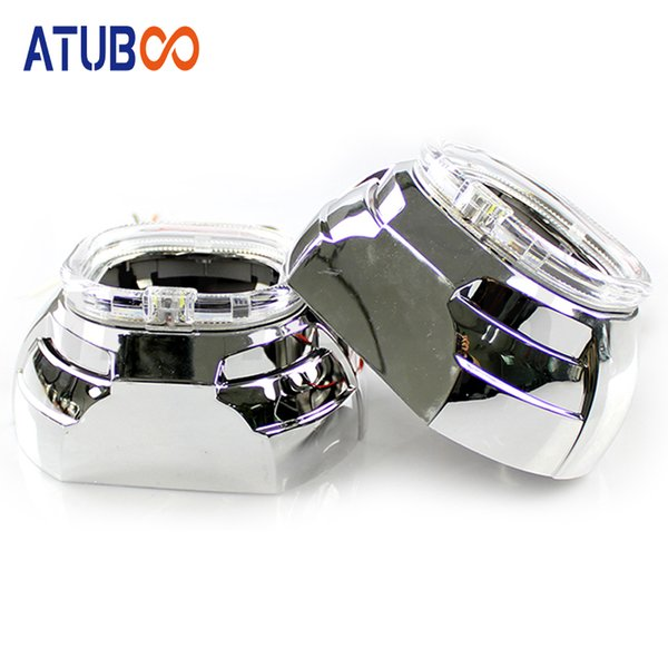 "2pcs/Lot 3"" projector lens shroud with LED Light H4 Easy Install Koito Q5 Bi-xenon Projector Mask LHD RHD hid headlight"