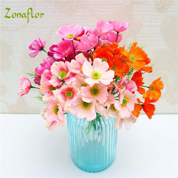 Decorations Artificial Dried Flowers Zonaflor Artificial Flowers Cosmos Daisy Silk Fall 5 Branches/Bouquet Spring Fake Flower For Home De...