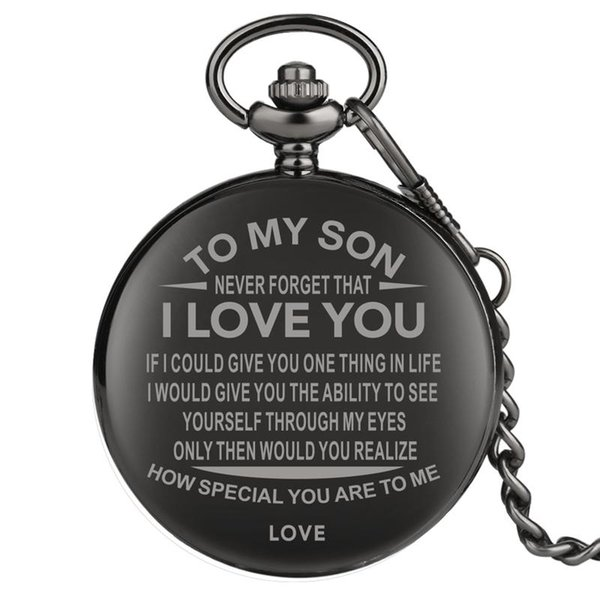 Unique Pattern To My Son Series Pendant Watch Vintage Durable Alloy Link Chain White Dial Men Watches Shocking Black Case Pocket Watch