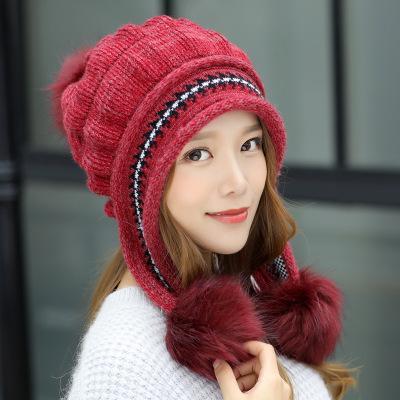 2018 Female Winter Knitted Hat Casual All-match Sweet Lovely Rabbit Fur Knit Women Hat Winter Warm Knitting Cap+Glove