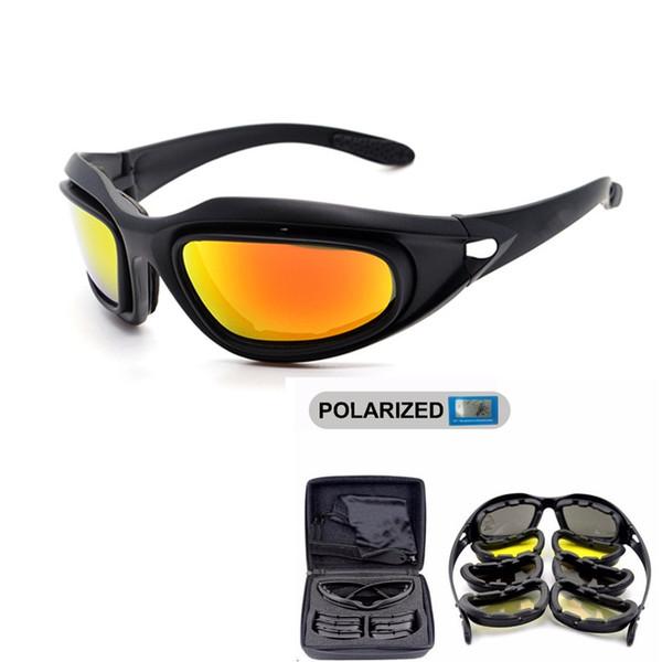 DAISY Polarize Ordu Gözlük, Askeri Güneş Gözlüğü 4 Lens Kiti, erkek Çöl Taktik Gözlük Sporting Polarize Gözlük # 29761